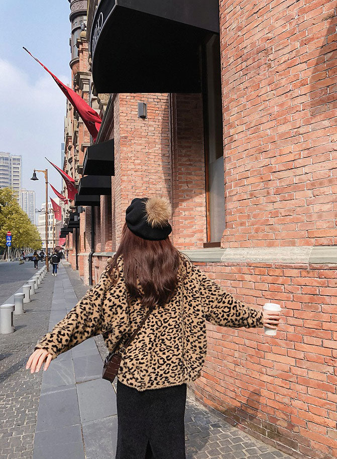 Leopard Knit Coat