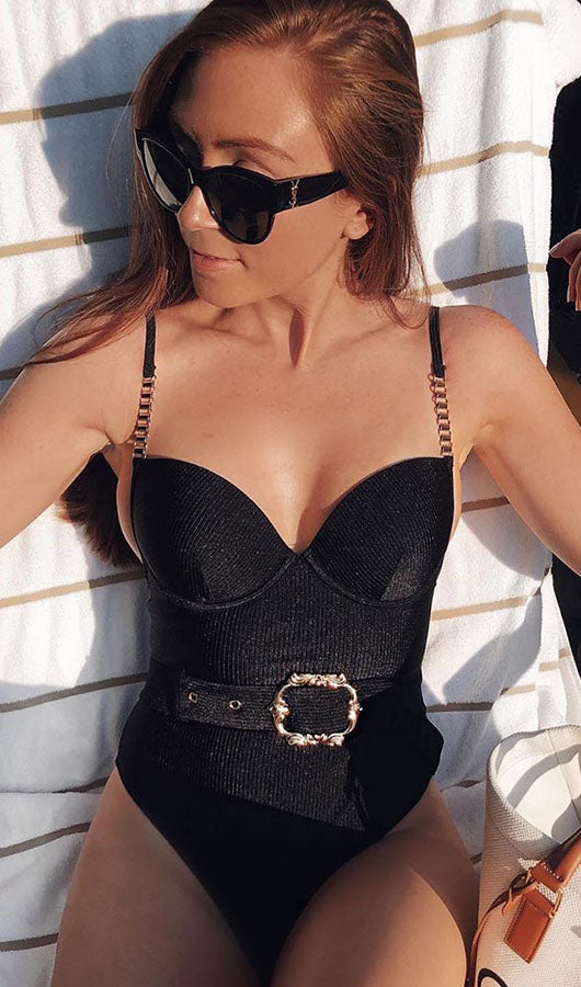 Metal Chain Shoulder Strap Swimsuit