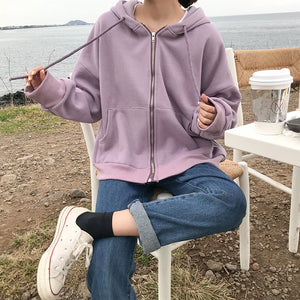 Front Zipper Hooded Sweatshirt Coat