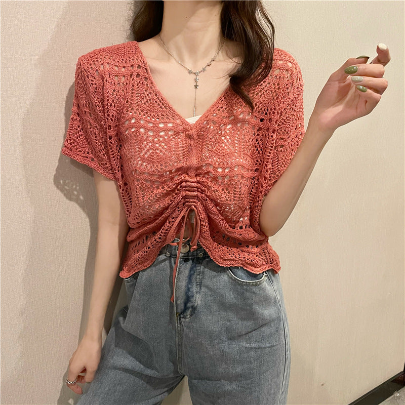 Hollow Out V Neck Knit Top