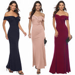 Off The Shoulder Slit Maxi Dress