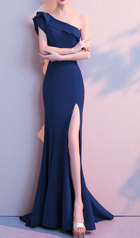 One Shoulder Slit Prom Dress