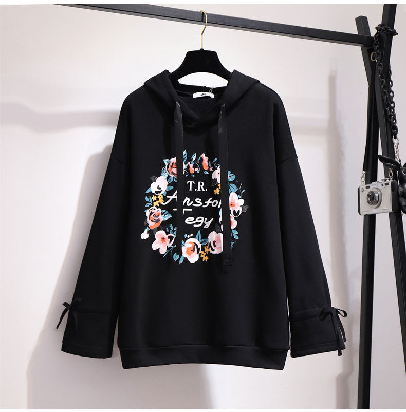 Plus Size Floral Hooded Sweatshirt