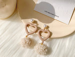 Plush Heart-shaped Earrings