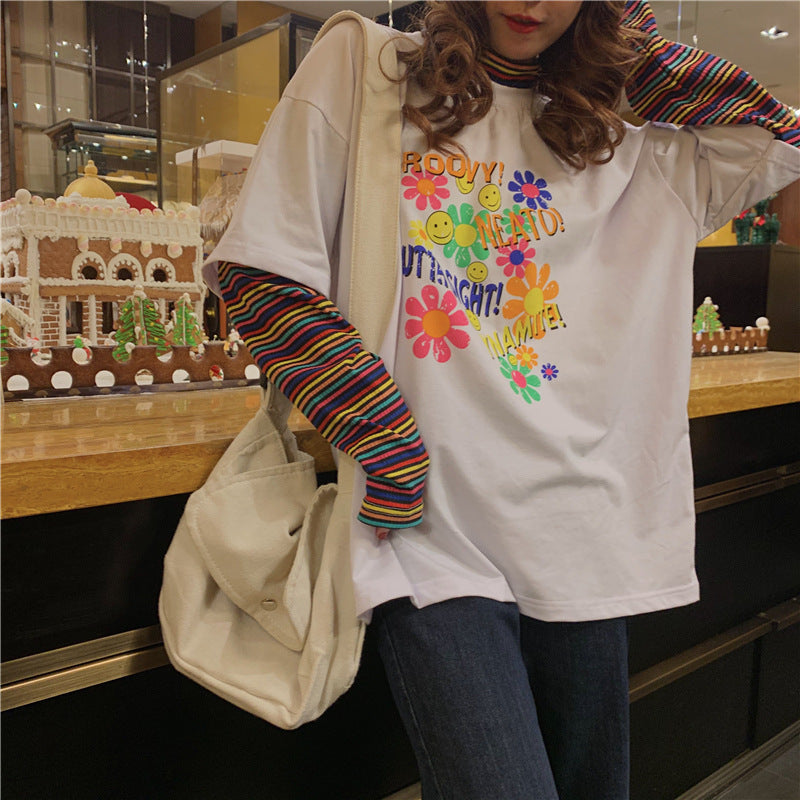 Rainbow Sleeve Splicing T Shirt