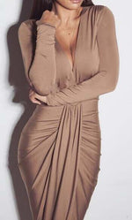 Deep V Neck Irregular Dress, dress, VIVIMARKS