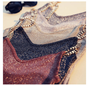Sequins V Neck Top