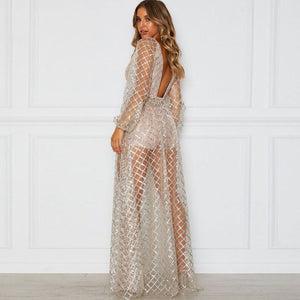 Sequins Backless Maxi Dress