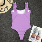 Solid Color One Piece Bikini Set