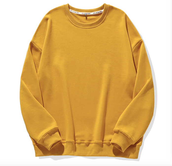 Solid Color Round Neck Sweatshirt