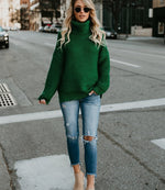 Solid Color High Collar Sweater