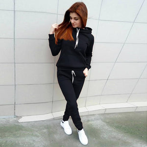 Solid Color Hooded Sweatshirt And  Trousers Two Pieces Set