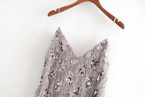 Spaghetti Straps Sequins Dress