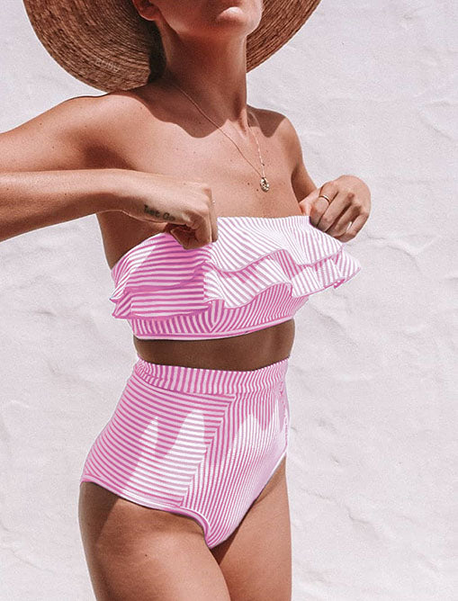 Stripe Falbala High Waist Bikini Set