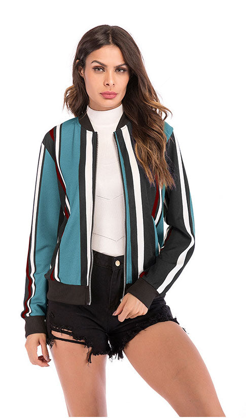 Stripe Front Zipper Coat
