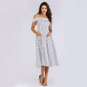Stripe Off The Shoulder Pockets Dress
