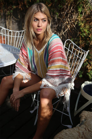 Stripes Colorful Tassels Cover Up