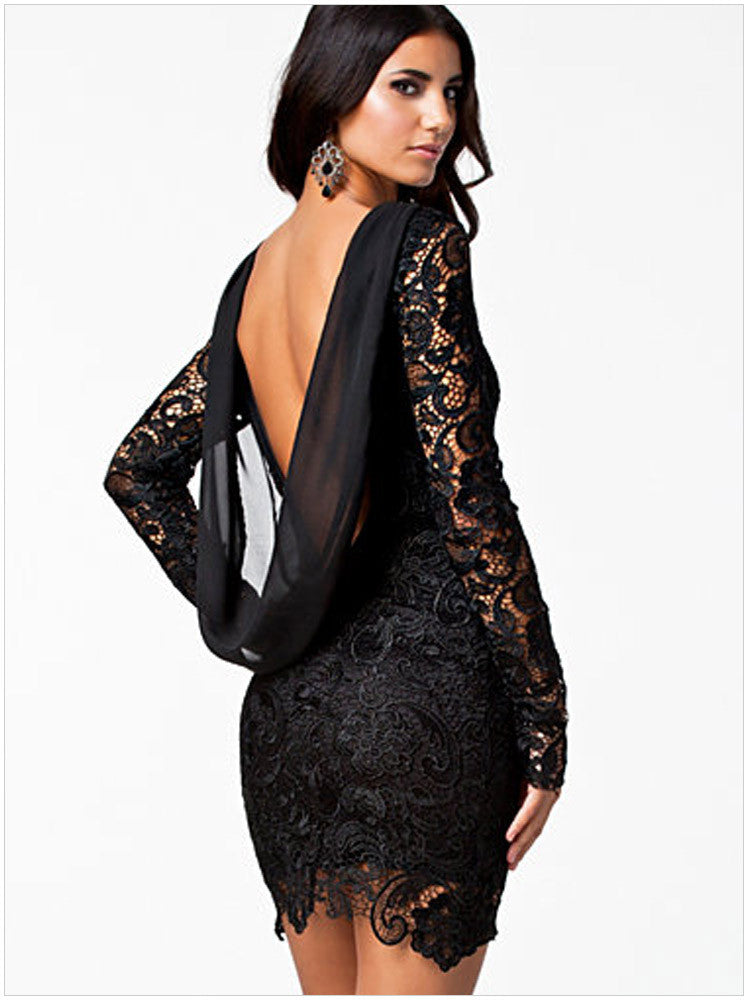 Lace Open Back Bodycon Dress, dress, VIVIMARKS