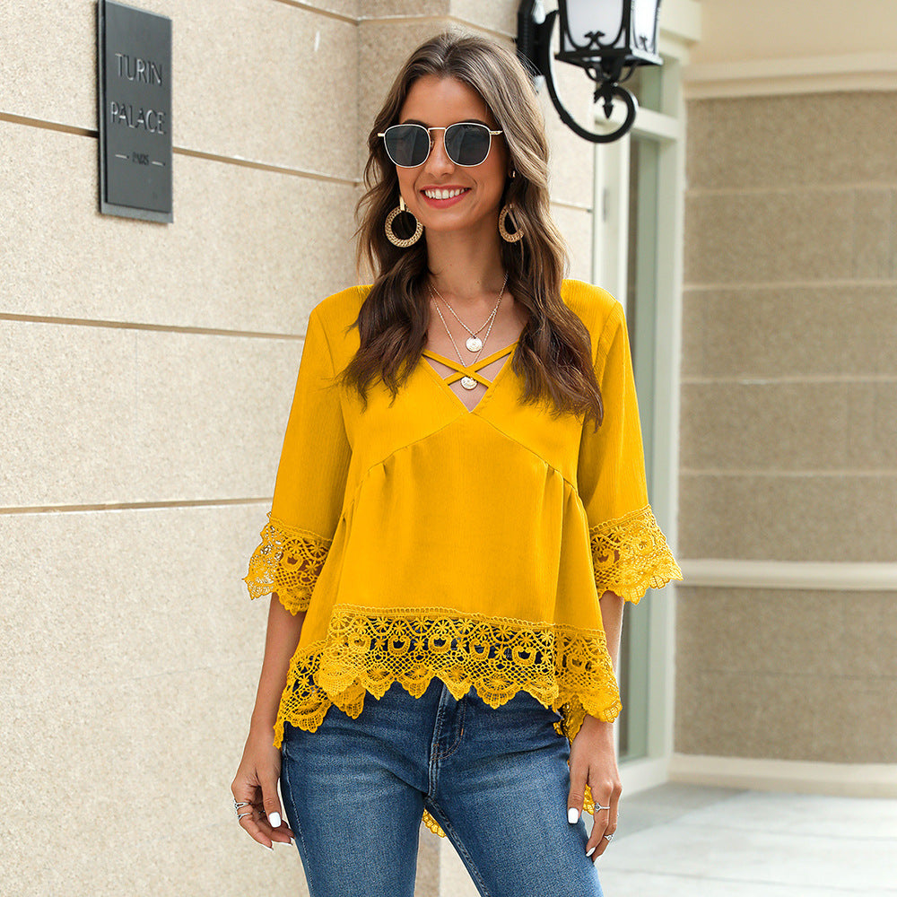 V Neck Chiffon Hollow Out Top