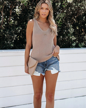 V Neck Crochet Top