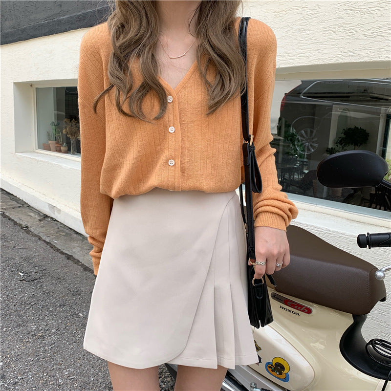 V Neck Front Buttons Knit Top