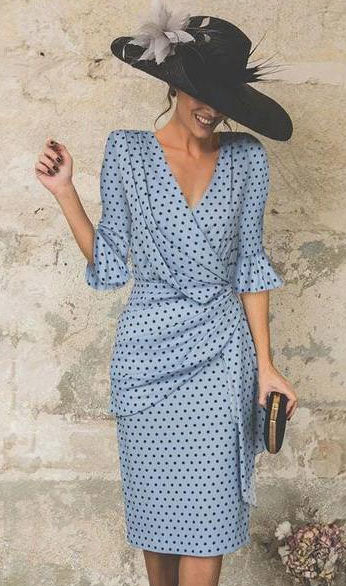 V Neck Dots Dress