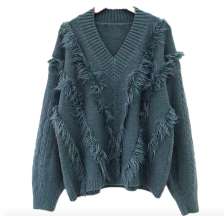V Neck Tassels Sweater