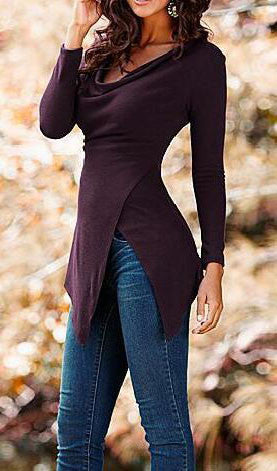 Long Sleeve Irregular Top, top, VIVIMARKS