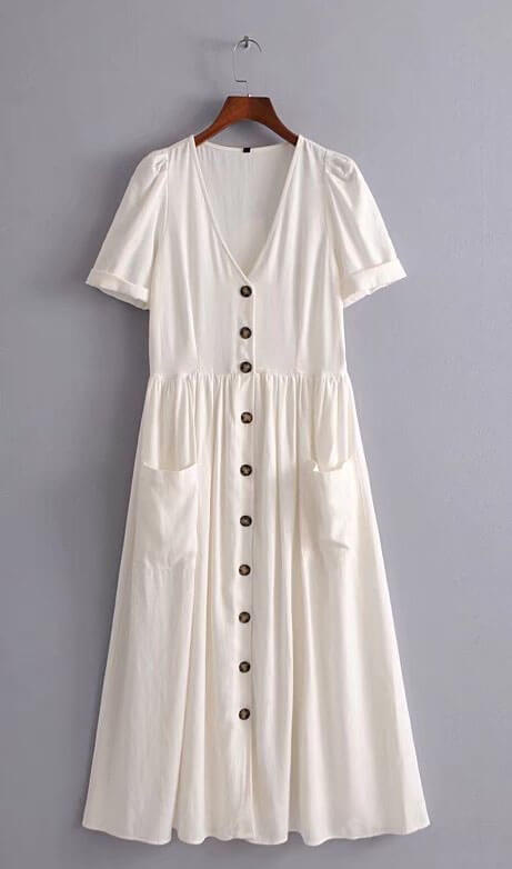 White Front Buttons Dress