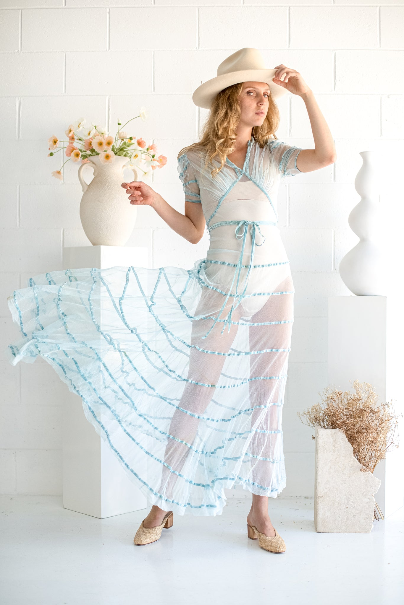 VINTAGE 1930's Sheer Baby Blue Net Tiered Gown S