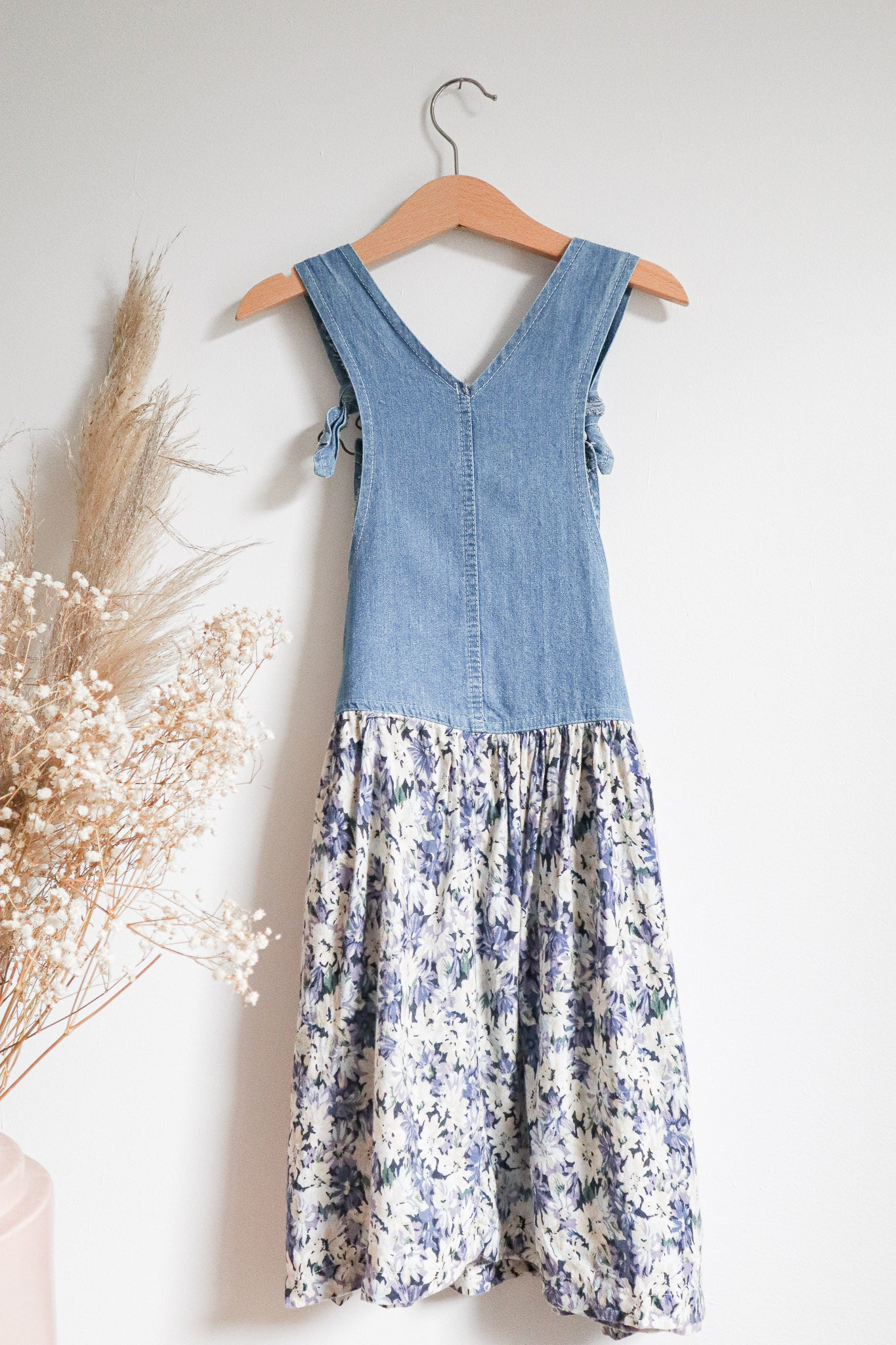 VINTAGE Kids 1980's Denim Bib Floral Overall Dress Size 5-7