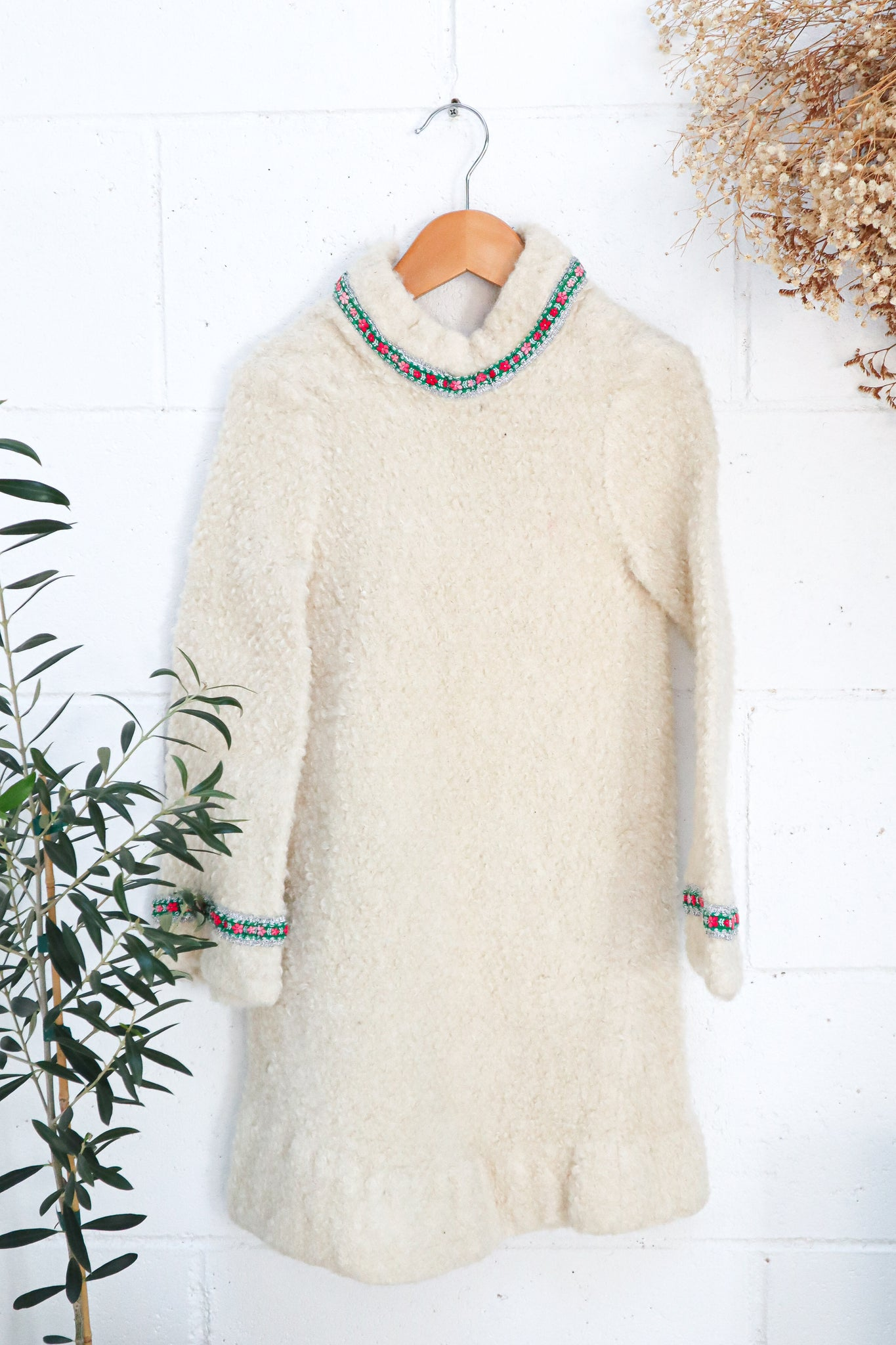 VINTAGE 1970's Bell Sleeve High Neck Cream Wool Dress