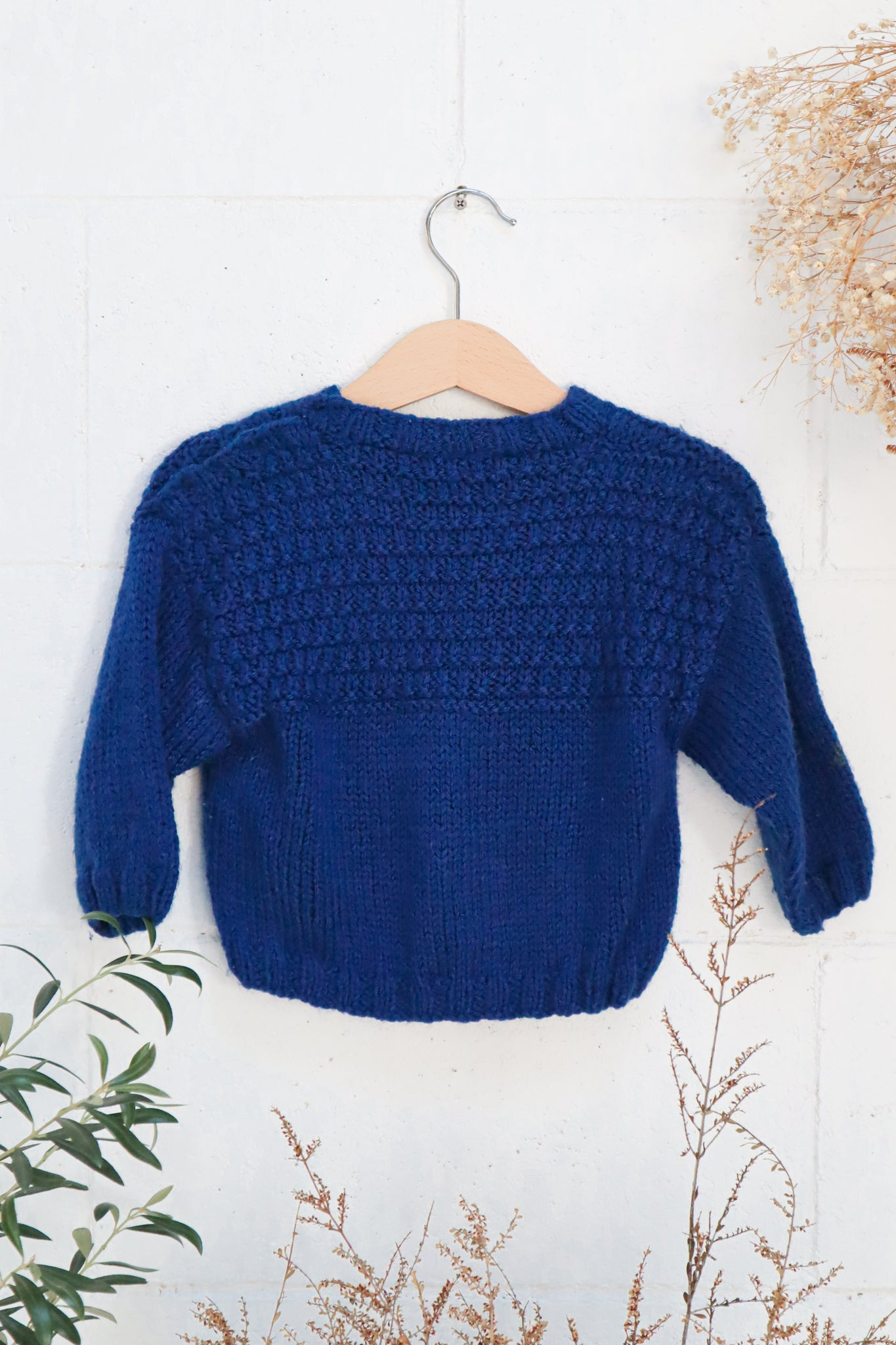 VINTAGE Kids Cable Knit Navy Jumper