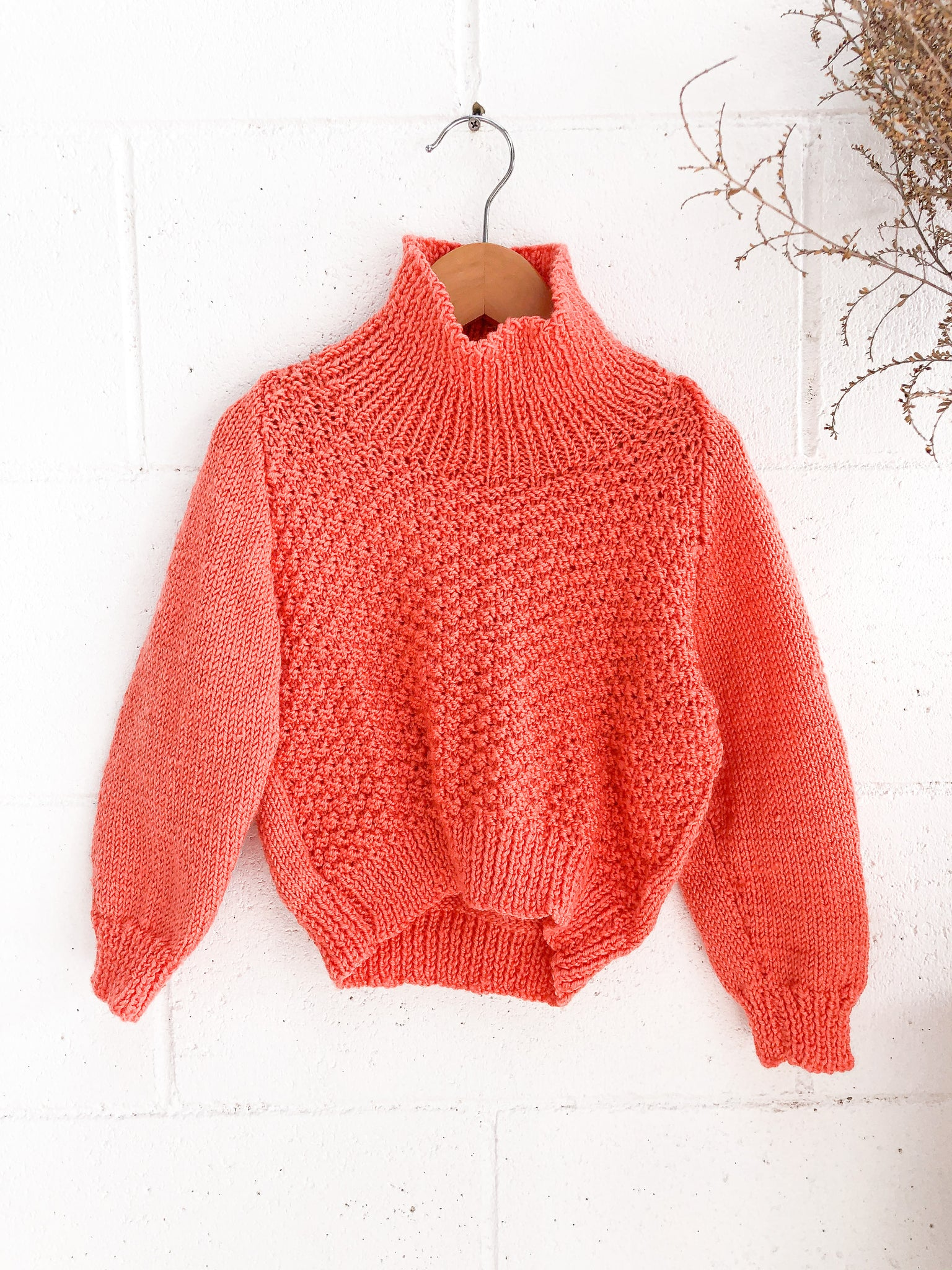 VINTAGE Orange High Neck Hand Knitted Jumper