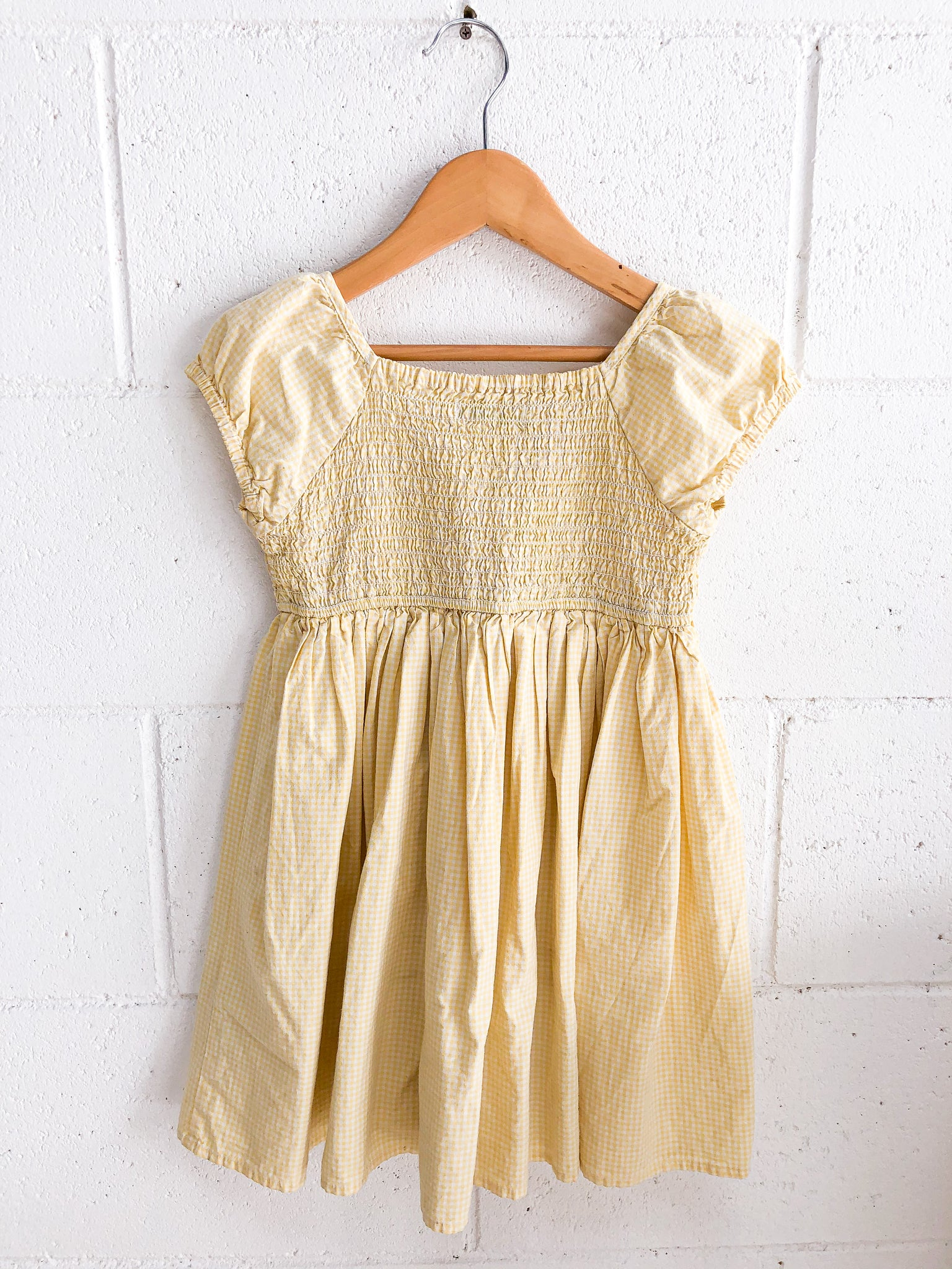 VINTAGE Yellow Gingham Cotton Dress 3-5Y