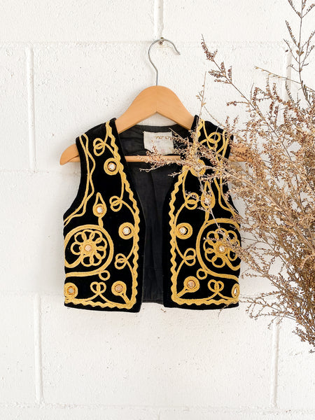 VINTAGE Kids Antique Kuchi Soutache Embroidered Vest Size 1-2