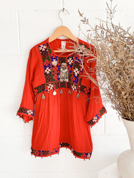VINTAGE Kids 1970's Embellished Red Kuchi Dress