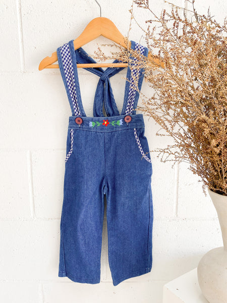 VINTAGE Kids 1970's Denim Flower Embroidered Overalls