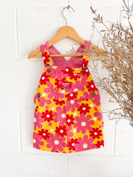 VINTAGE Kids Osh Kosh B'Gosh Floral Mini Dress Overalls Size 2-3