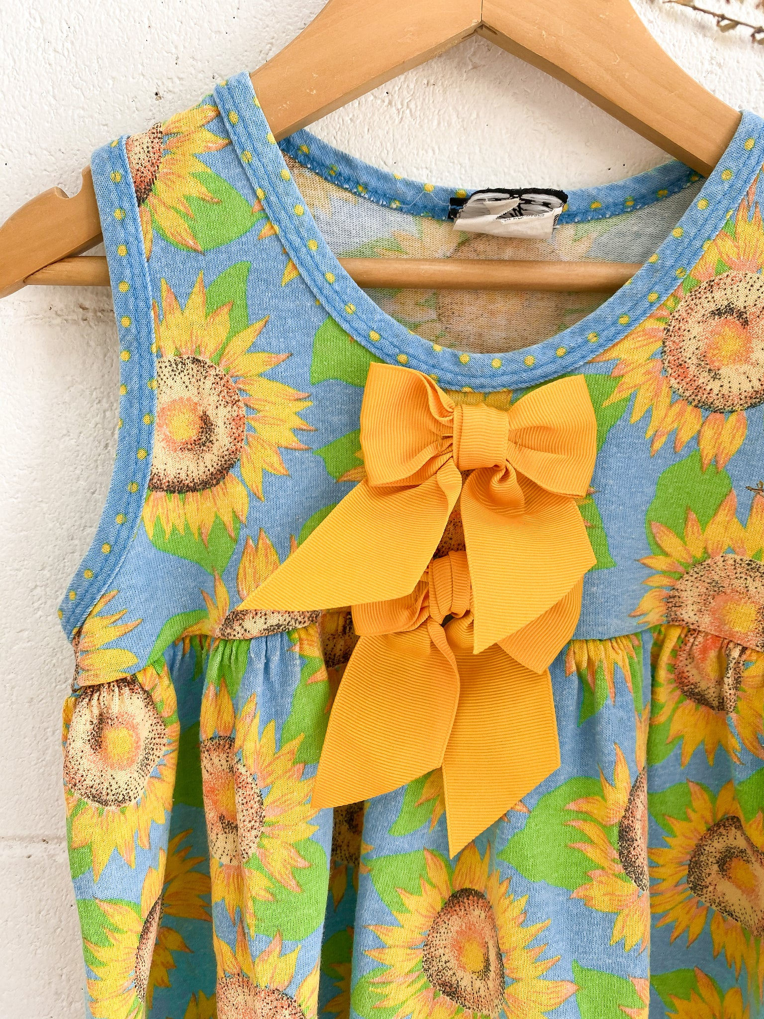 VINTAGE Kids Cotton Sunflower Mini Dress Size 1-3