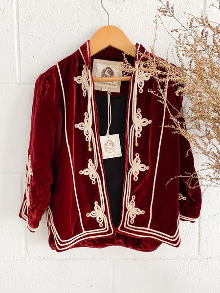 CHASING UNICORNS Kids Maroon Velvet Soutache Embroidered Jacket 3-4