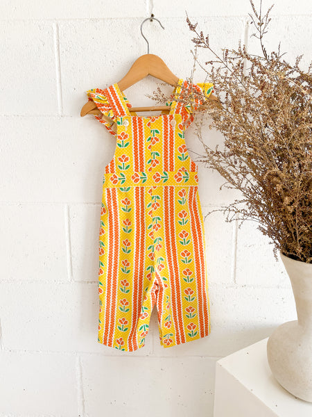 VINTAGE Kids 1960's Yellow Floral Cotton Overalls Size 2