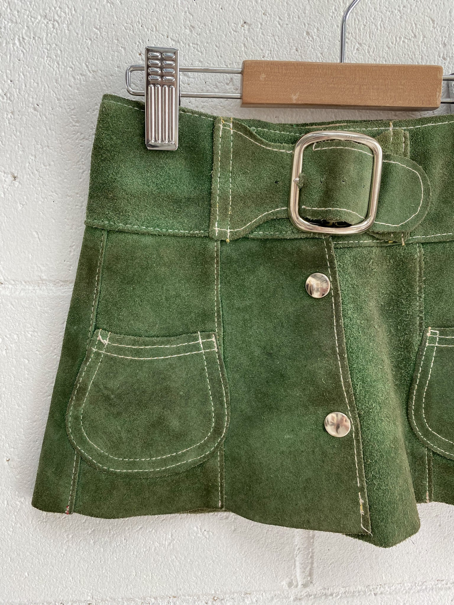 VINTAGE Kids 1960's Suede Leather Mini Skirt Size 1-2