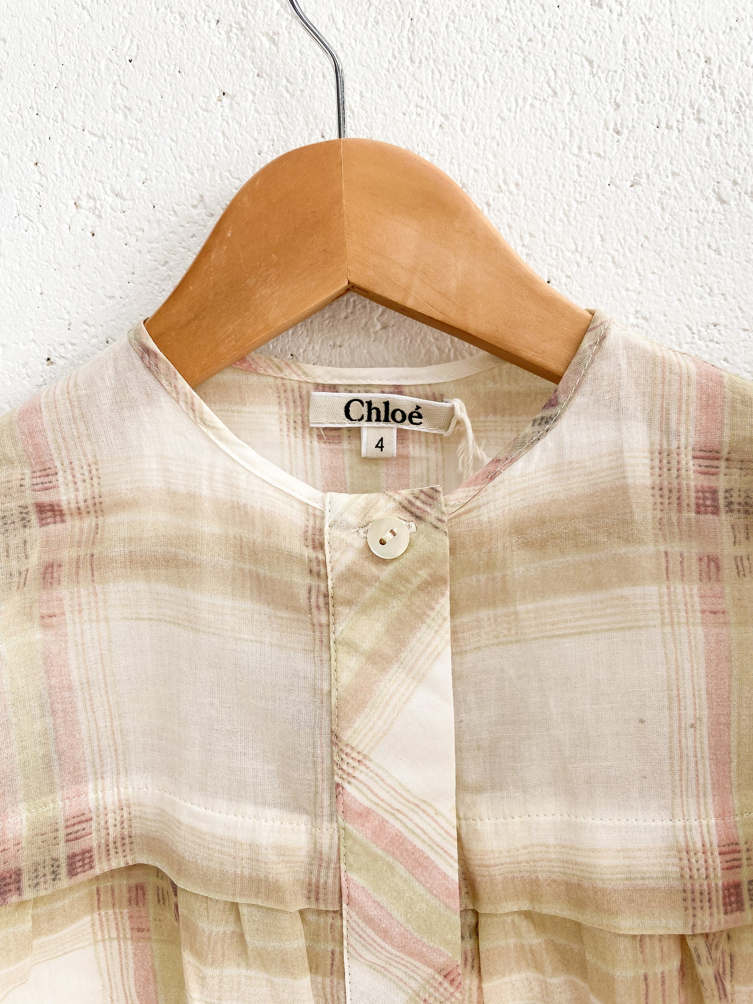 CHLOÈ Kids Brown Plaid Cotton Blouse Size 4-5
