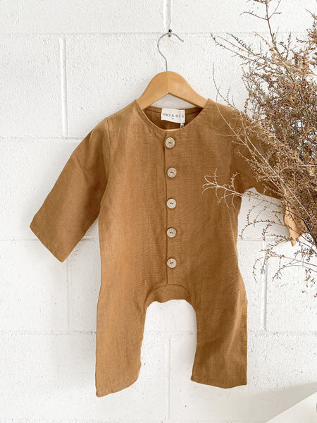 YOLI + OTIS Kids Brown Linen Romper Jumpsuit Size 2