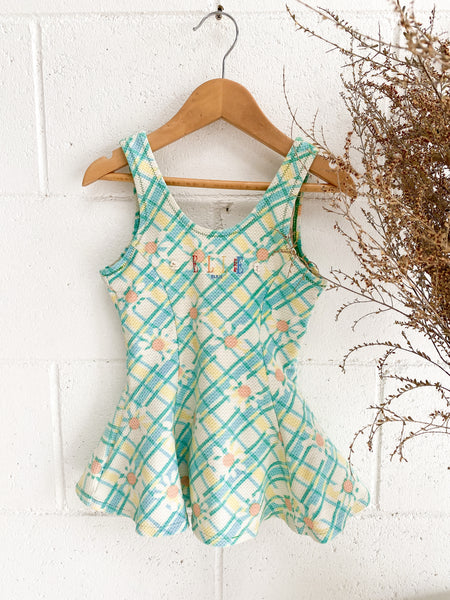 VINTAGE Kids 1960's Elle Paris Green Floral Low Back Swimsuit Size 3