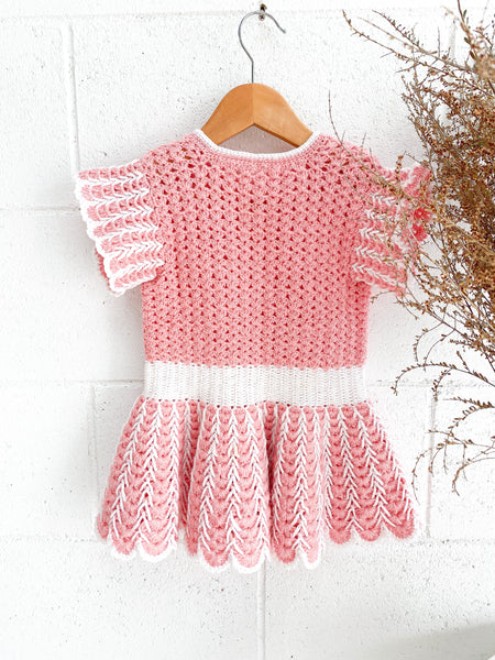 VINTAGE Kids Pink Knitted Mini Dress Size 1-3
