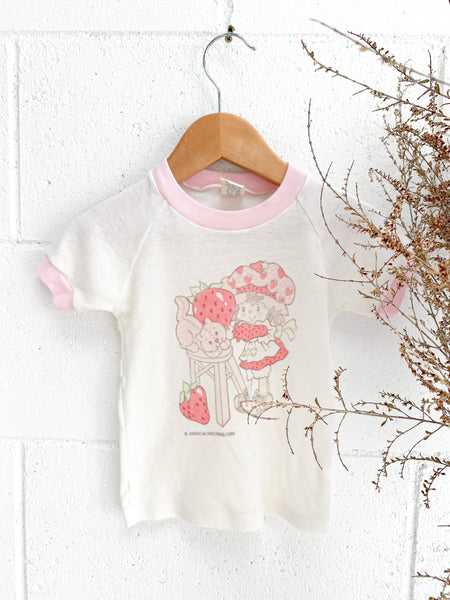 VINTAGE Kids 1970's Tissue Thin Strawberry Shortcake Ringer Tee Size 1-3