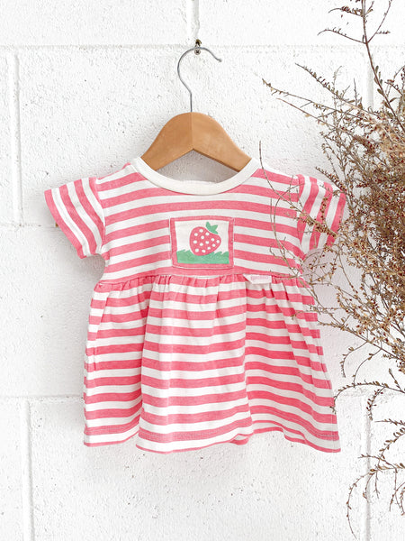 VINTAGE Kids 1980's Pink Candy Stripe Jersey Cotton Mini Dress Size 1-2