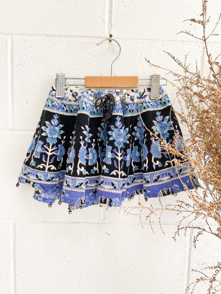 VINTAGE Kids Indian Cotton Hand Block Printed Mini Skirt Size 2-4
